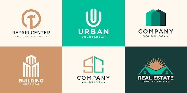 Set of building and house logo design template