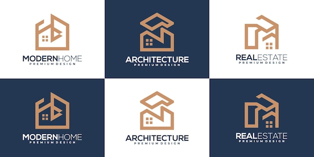 Set of building and house logo template. real estate logo design inspiration