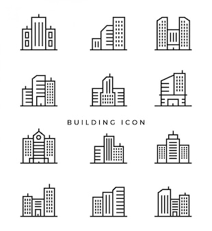 Set building line icon