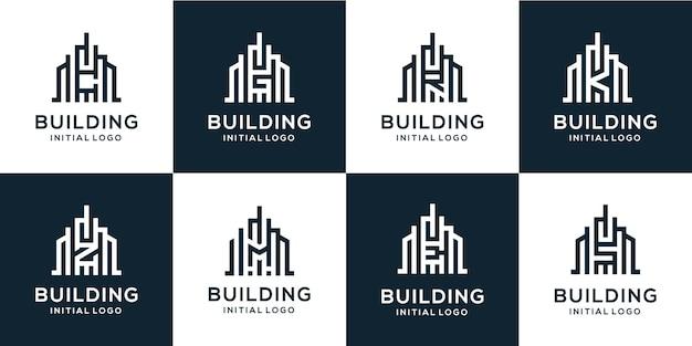 중간에 건물 로고와 문자 알파벳 설정