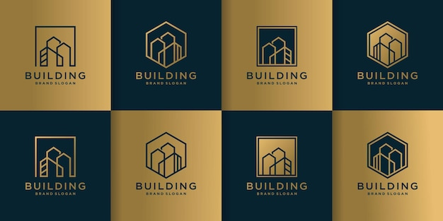 Set of building logo collection with creative line art style premium vector