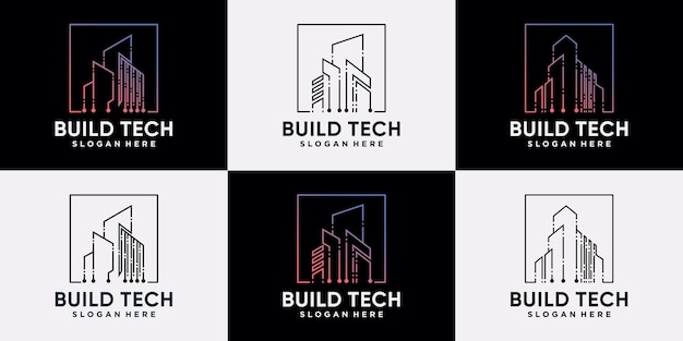 Set of building logo design technology construction with linear style and creative concept premium vector