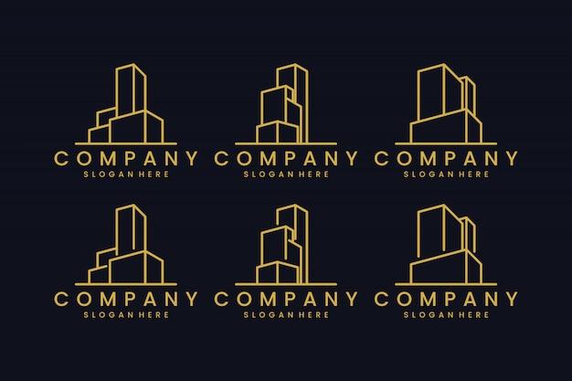 ラインコンセプトのロゴデザインのインスピレーションで建物のオフィスを設定