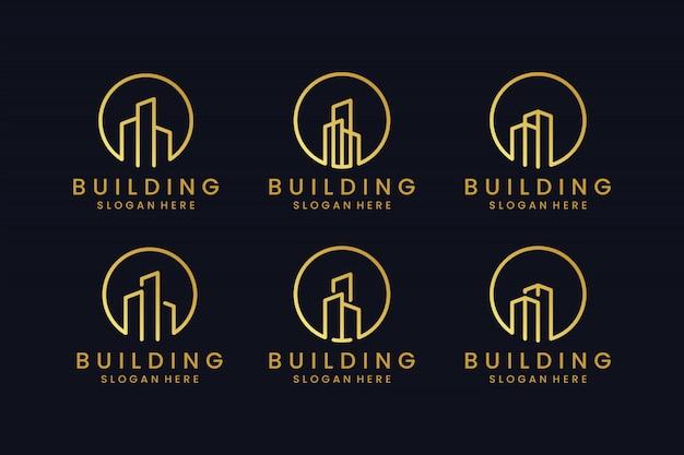 ゴールドカラーコンセプトのロゴデザインのインスピレーションで建物を設定します。