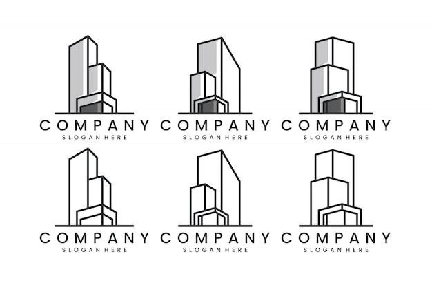 Набор зданий с линейным искусством, концепция дизайна логотипа, вдохновение