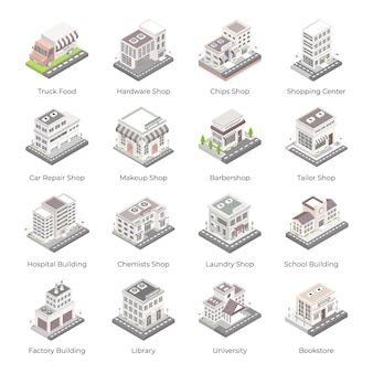 Set of buildings and architectures isometric icons