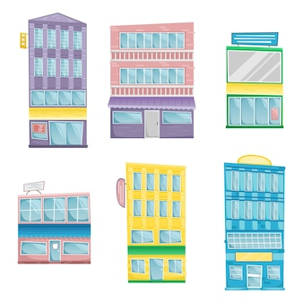 Set of buildings in cartoon style. six bright architectural buildings with signs.