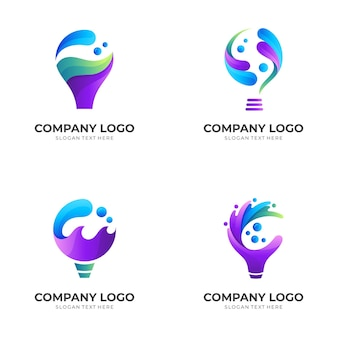 Set bulb water logo, bulb and water, combination logo with 3d colorful style