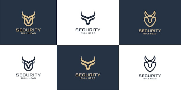 Set of bull line with long horn logotype for sports logo design collection