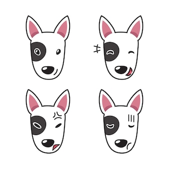 Set of bull terrier dog faces showing different emotions