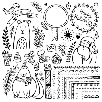 Set of bullet journal cute hand-drawn christmas, new year's and winter's doodle elements isolated on white background.