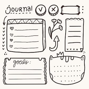 Set of bullet journal notes drawing set sticker remainder