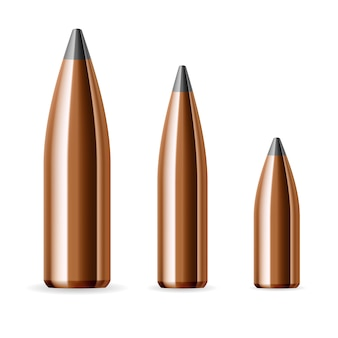Set of bullets in different sizes
