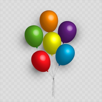 Set, bunches and groups of color glossy helium balloons isolated on transparent background
