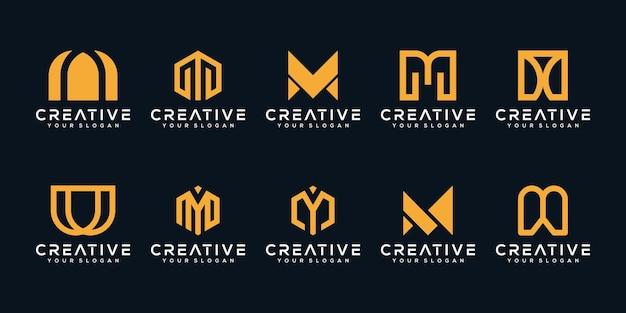 Установить bundel вензель буква m дизайн логотипа