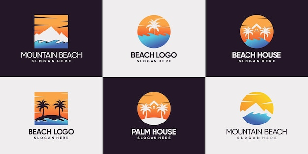 Set bundle of beach logo with mountain sun house and palm tree logo design premium vector