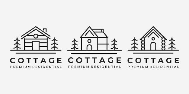 Set bundle of cabin cottage line art logo vector minimalist illustration design lake river ocean