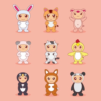 Set bundle cartoon baby cute with animal costume