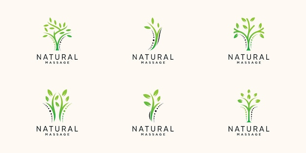 Set bundle of chiropractic and natural massage logo with creative modern concept premium vector