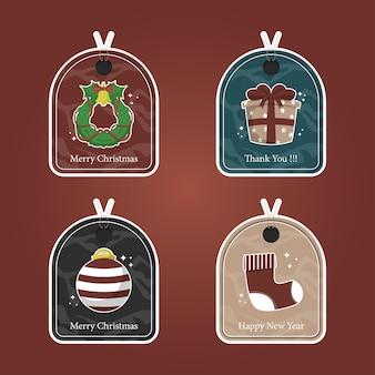 Набор набор рождественских тегов распродажа и карты