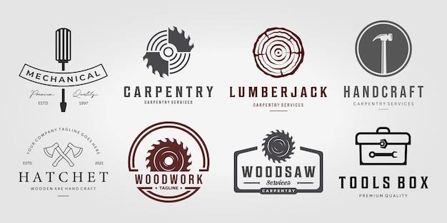 Set bundle collection carpentry vector logo, pack design illustration carpenter vintage line art, hammer saw wooden concept