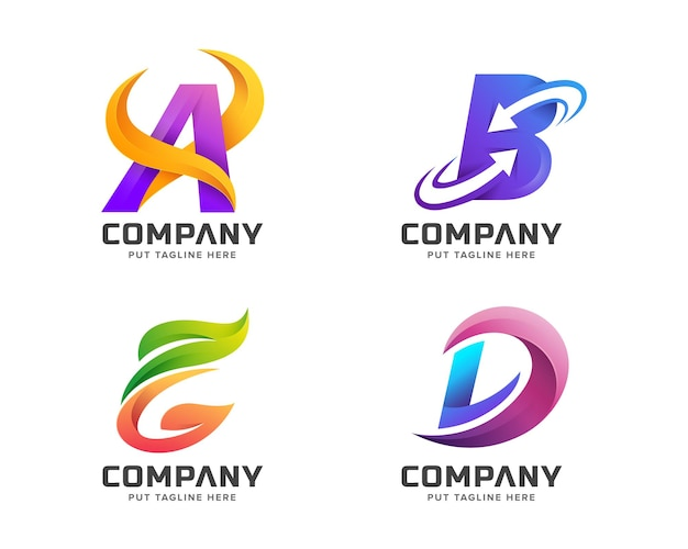 Set of bundle colorful letter initial logo collection