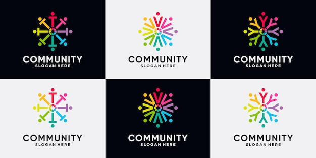 Set bundle of community logo design initial letter t, v, y with creative concept.