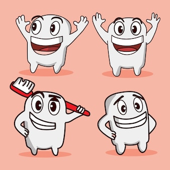 Set bundle cute tooth and brush tooth with different poses