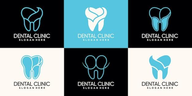 ラインアートスタイルとネガティブスペースコンセプトプレミアムベクトルでバンドル歯科医院のロゴデザインを設定します。