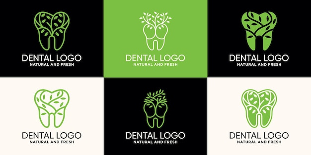 Set bundle of dental and tree logo design template with line art style premium vector
