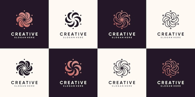 Набор цветочных логотипов красоты для салона красоты и спа с уникальной концепцией premium векторы