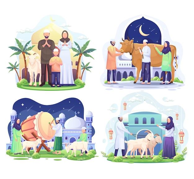Set bundle of happy muslim family celebrates eid al adha mubarak with a goat illustration