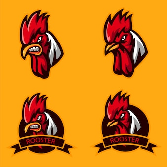 Set bundle head angry rooster logo for mascot