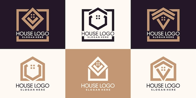 Set bundle of house logo design with line art style and creative concept premium vector