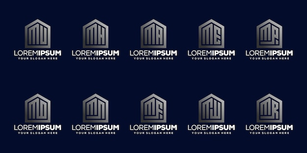 Набор буквица m дизайн логотипа