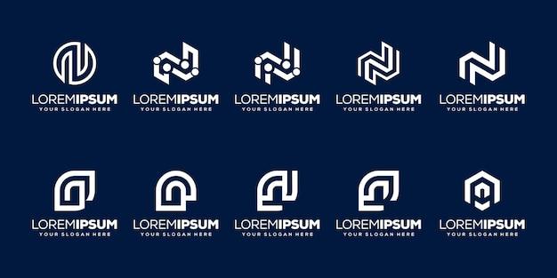 Набор буквица n логотип шаблон