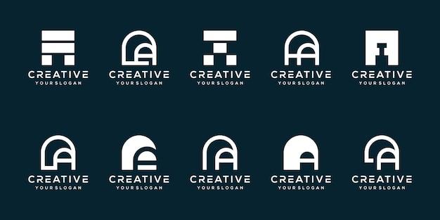 Набор буква а дизайн логотипа