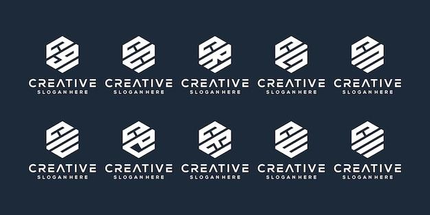 Набор буква c дизайн логотипа