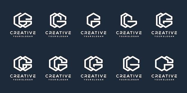 Set bundle letter g modern logo design