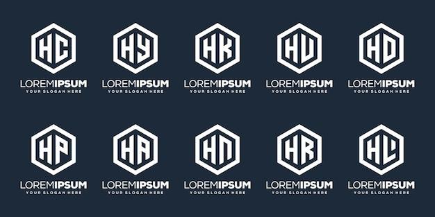 Set bundle letter h logo design