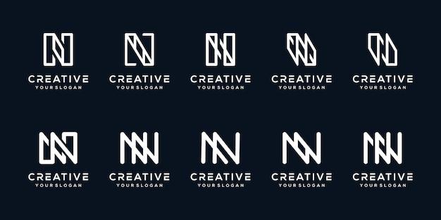 Set bundle letter n logo design