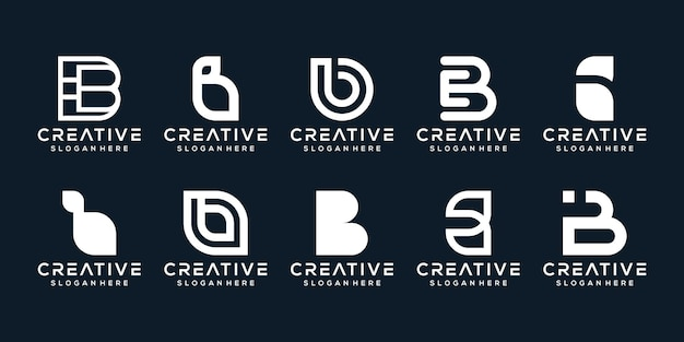 Set bundle modern letter b logo template
