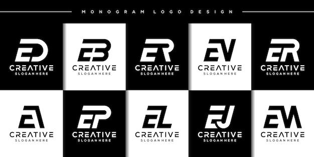번들 현대 편지 e 로고 디자인 설정