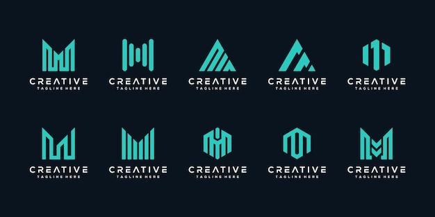 Установить связку монограммы буква м дизайн логотипа Premium векторы