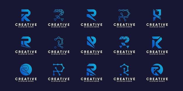 창의적인 컨셉으로 번들 모노그램 로고 디자인 초기 편지 r을 설정하십시오.