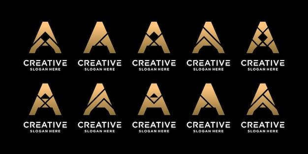 Set of bundle monogram logo design initial letter a with unique concept premium vector
