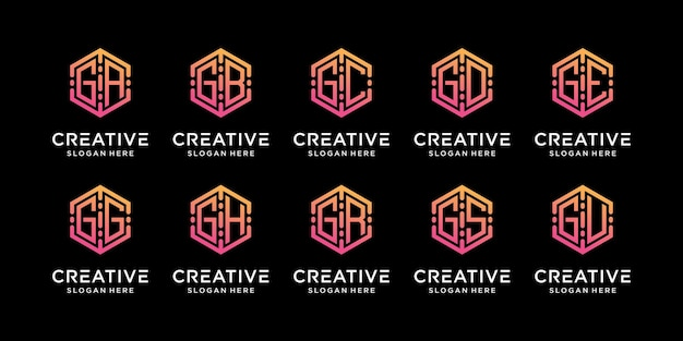 Set bundle of monogram logo design technology initial letter g combined with other in hexagon style