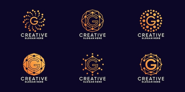 Set bundle monogram logo design technology initial letter g with linear and dot style premium vector