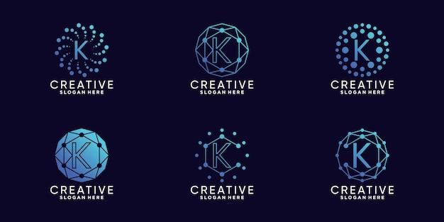 선형 및 도트 스타일로 번들 모노그램 로고 디자인 기술 초기 문자 k를 설정합니다. premium vector