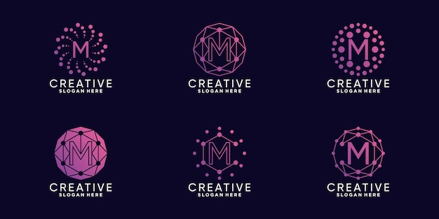 Set bundle monogram logo design technology initial letter m with linear and dot style premium vector